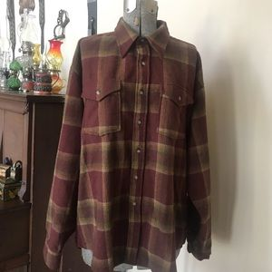 PENDLETON Flannel Plaid Wool Button Outdoor Shirt
